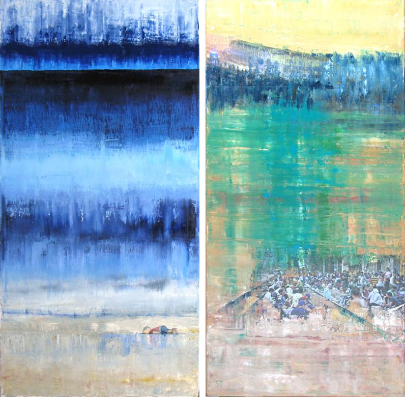 Die Gemälde Flucht IV und V von Reinhild Stötzel