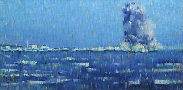 Fukushima am 15.03.2011, Öl auf Leinwand, 60x30, 2012