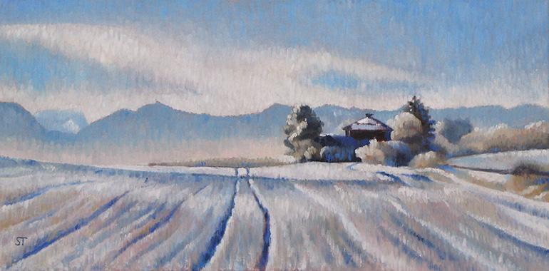 Icking, Altes Bahnwärterhaus im Winter, Öl auf Leinwand, 80x40, 2011