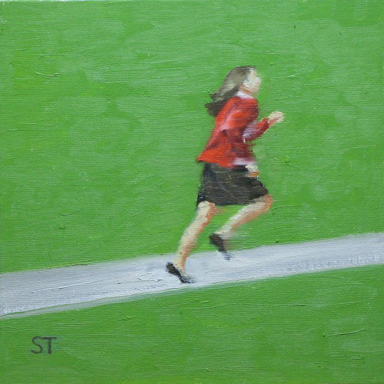 Rennendes Mädchen, 2013, Öl auf Panel, 20x20