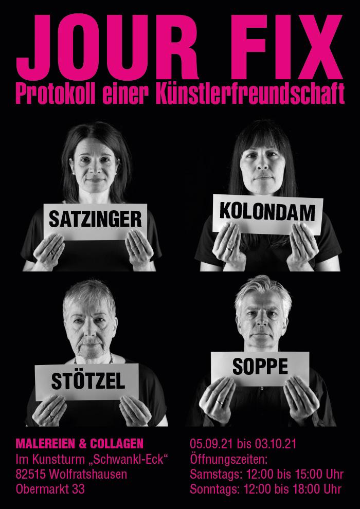 """Plakat der Ausstellung JOUR FIX im Kunstturm """"Schwankl-Eck"""" vom 05.09.21 bis 03.10.21"""